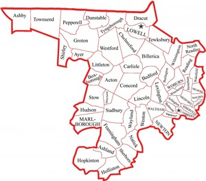 Map of Middlesex County